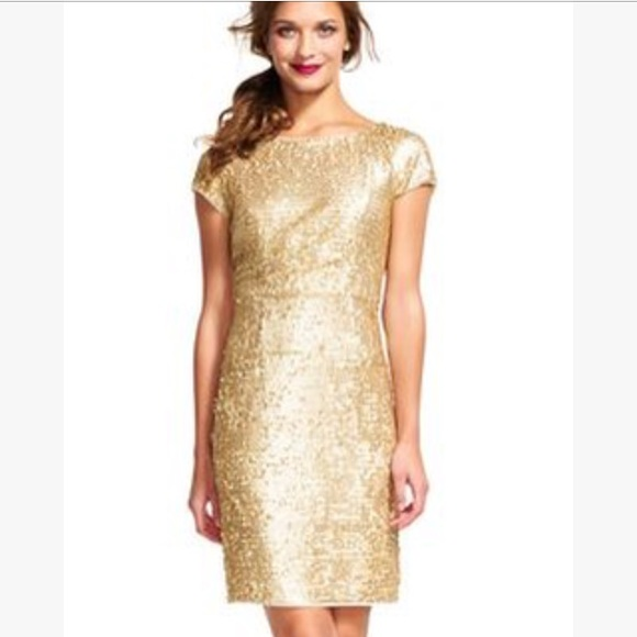 54fa8b82df6486 Adrianna Papell Dresses   Skirts - Adrianna Papell Gold Sequin Short Sleeve  Dress